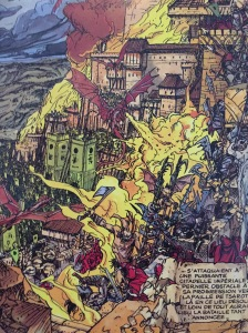 Half of one of the big double page battles, which you also see in Prince Valiant.