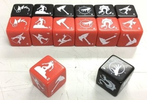 The dice that are evolving monster counters.